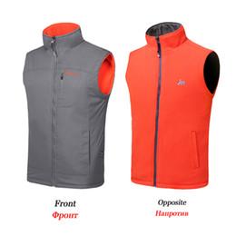 Wholesale Two Color Vest - Brand Men's Reversible Polar Fleece Vest Two-Sided Wear Outerwear Coats With Zipper And Pocket Sleeveless Jacket Male Waistcoat