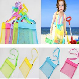 Wholesale custom candies - Colorful Blanks Beach Storage Bag For Kids Children Mesh Shell Toys Beach Net Bag Cross Should Bag Can Custom FBA Ship HH7-471