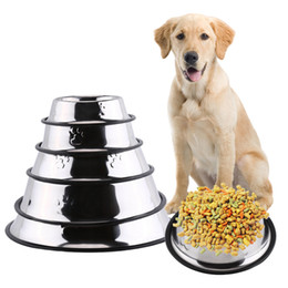 Wholesale Stainless Steel Dog Bowl Wholesale - Dog Bowl Stainless Steel Travel Feeding Feeder Water Bowl For Pet Dog Cat Puppy Food Bowl Water Dish 6 Sizes