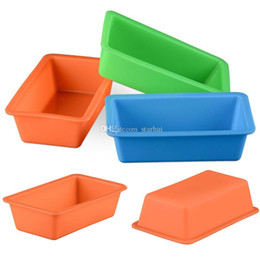 Wholesale Plate Mould - New Mini Silicone DIY Toast Box Mould Baking Tools Rectangular Cake Bread Plate Kitchen Baking Tools Heat Resisting Multi Colors WX9-100