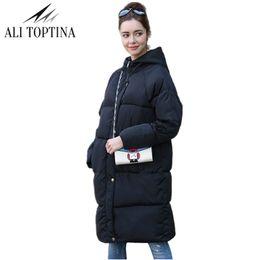 Wholesale cotton bread pad - ALI TOPTINA Parkas Winter Woman 2017 Women Jacket Hooded New Thickening Bread Cotton-padded Woman Long Overknee Jacket JK91