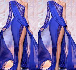 Zuhair alto cuello vestidos online-Zuhair Murad 2019 Royal Blue Vestidos de noche Un hombro Sheer Royal Blue High Side Slit Lace Crystal Prom Vestidos de fiesta Vestido formal BO9766