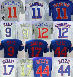 Wholesale Ross Gold - Men Chicago 11 Yu Darvish 9 Javier Baez 17 Kris Bryant 44 Anthony Rizzo 12 Kyle Schwarber 3 David Ross Joe Maddon cubs 2018 Training jerseys