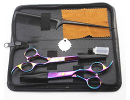 Wholesale Dress Scissors - 6inch hair dressing scissors flat teeth thinning scissors set kit hair care styling tools products hair scissors 4 color set comb bag hot