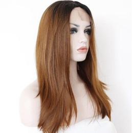 Rubio pelo sintético barato online-Pelo sintético recto frente peluca de encaje rubio Ombre negro raíces 1B 30 color 150% peluca de densidad pelucas barato resistente al calor para mujeres negro