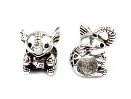 Wholesale Fly Earrings - 20pcs Vintage Antique Silver Zinc alloy fly baby elephant beads Big hole beads Fit Handmade Jewelry DIY7.7*11.9MM Earring Bracel