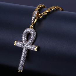 Pietre del ghiaccio online-Hiphop tono colore egiziano collana ciondolo chiave ankh ghiacciato cubic zirconia pietra collane con corda chian croci punk gioielli