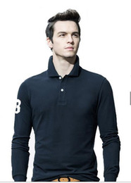 Поло длинный рукав онлайн-2018 новые горячие продажи 19 цвет рубашки поло мужчины большой маленький конь крокодил твердые с длинным рукавом лето случайные поло мужские тонкие поло повседневная рубашка M-4XL