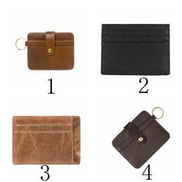 Wholesale Leather Short Sets - Genuine Male Leather Card Holder Men Thin Crazy Leather Card Bag Set Cards Case Pouch For Wholesale LJJD34