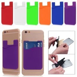 Wholesale Plastic Id Pouch - Silicone Wallet Credit Card Cash Pocket Sticker 3M Adhesive Stick-on ID Credit Card Holder Pouch Gadget For iPhone for Samsung Mobile Phone