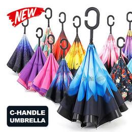 Wholesale umbrella anti - Double Layer Inverted Umbrella Waterproof Anti UV Umbrella C Handle Black Inverted Umbrellas Red Flower Pink Striped Umbrellas