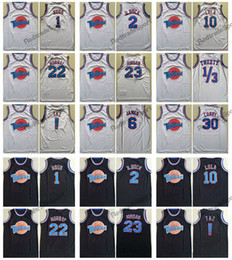 0499f644952 Mens Tune Squad Looney Space Jam 22 Murray 1 Bugs ! TAZ 10 Lola 2 D.DUCK 23  Michael 1 3 Tweety 6 James 30 Curry White Basketball Jerseys