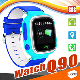 Wholesale baby trackers - Q90 Child kids Smart Watch GPS Wifi Location Tracker SOS Call Touch Screen Device smart watchs for Kid Baby Safe Anti-Lost Monitor PK Q50