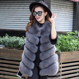 Coleira pele rosa on-line-Fox Fur de luxo das mulheres longo colete colete gilet preto vermelho rosa faux fur Fox pelts fofo casaco sem mangas de inverno moda colete de pele quente