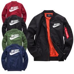 Più vestiti di formato per gli uomini online-Giacche pilota Kanji Black Green Flight giapponese MERCH BOMBER MA-1 Giacche Giacche Zipper Abbigliamento maschile Capispalla Plus Giacche da uomo Plus Size