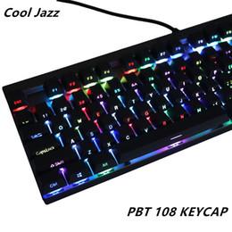 teclados teclados Rebajas Disparo doble PBT108 Brillo iluminado lateralmente a través de teclas traslúcidas retroiluminadas Perfil de cerezo para teclado mecánico Teclado MX