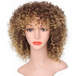 human hair heating Coupons - Hot Stylish Curly Synthetic Wig Heat Temperature Fiber Simulation Brazilian Human Hair None Lace Wig For Black Women In stock Full Wig