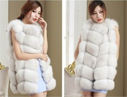 Wholesale Red Fox Vest - Wholesale-2018 High quality Faux Fox Fur Vest Women Winter Fashion Luxury Women's Coat Jacket Pink Gilet Veste Fourrure Femme