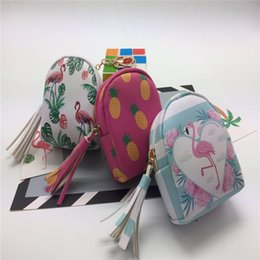 Wholesale headphones cartoons - 7 styles Cute unicorn flamingo bag coin purse full printing change purses fruit wallet mini storage package data line headphone pack