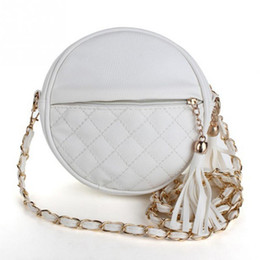Wholesale Mini Sling Bags - 2017 Women Tassel Chain Small Bags Mini Lady Fashion Round Shoulder Bag Handbag PU Leather Sling Crossbody Bag female #F
