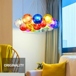 Wholesale Design Home Switch - Colorful Glass Ball Lamp G4 LED Pendant Lights 110V 220V Creative Design Lighting Fixtures for Home Deco Bar Coffee Living Room