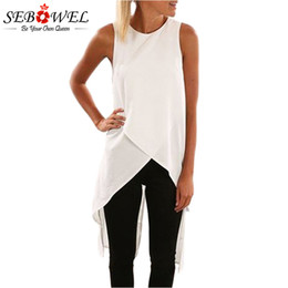 Wholesale Womens Long Tunic Tops - Sebowel 2018 Womens Tops And Blouses Summer Casual Blouse Top White Sleeveless Wrap Style Tunic Long Tank Black Blouses Women