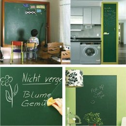 Wholesale blackboard chalks - 45*200cm PVC Chalkboard Wall Sticker Erasable Chalk Board Blackboard Paster Children Room Decor Wall Stickers CCA9546 100pcs