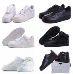 Wholesale Newest Casual Shoes - 2018 Newest forces Classical All White black low high cut men women Sports sneakers Casual Running Shoes Forceing one skate Shoes SIZE 36-45