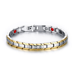 Отрицательные ионы браслета энергии онлайн-Men Women Sleek Stainless steel Magnetic Energy Therapy Negative Ion Bracelet Unisex Sports Fashion Jewelry Pulseira Masculina