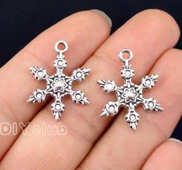 handgefertigte metall-tags Rabatt 80pcs-Antik Silber Schneeflocke Charms 2 Seitige 23x17mm