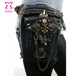 Calavera sexy corsé online-Cuero Negro SkullRivet Rock Gothic Waist Bag Steampunk Hombres Mujeres Sexy Burlesque Disfraces Vintage Corset Accesorios