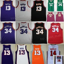 2d0e5d55f85 Stitched Phoenix 13 Steve Nash Jerseys 34 Charles Barkley Basketball Shirt  Leeds High School College Santa Clara 1992 USA Dream Team Purple