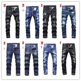 Wholesale Patterned Jeans - Men's Distressed Ripped Skinny Jeans Fashion Designer Mens Shorts Jeans Slim Motorcycle Moto Biker Causal Mens Denim Pants Hip Hop Men Jeans