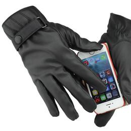 Argentina Gours Impermeable para hombres, además de terciopelo cálido, guante negro, PU, cuero, pantalla táctil, guantes, guantes gruesos de invierno, moda cálida, nuevos cheap touch screen s Suministro