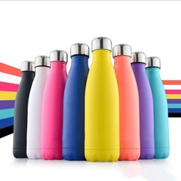 Wholesale Drinking Bottles - CA USA UK Free 17oz 500ml Cola Shaped Bottle Insulated Double Wall Vacuum High-luminance Water Bottle Creative Thermos Bottle Coke Cup 2018