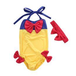 Menina um pedaço branco swimsuit on-line-Uma peça Do Bebê Meninas Cordas Swimsuit Menina Dos Desenhos Animados Snow White Bowknot Hairband Swimmable Bikini Set Swimwear Maiô Traje