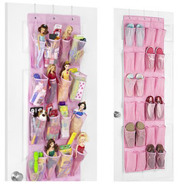 Wholesale Hanging Storage Space Bag - 24-Pocket Shoe Space Over The Door Hanging Shoe Organizer Storage Bag with 3 Hooks