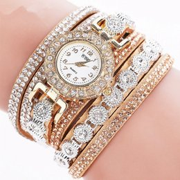 Wholesale Braided Wrap Watch - Women's watches casual watches Bracelet Leather Crystal Rivet Bracelet Braided Winding Wrap Quartz Wristwatch women relogio