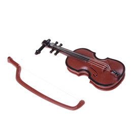 Musica de violino on-line-1 Pc Plástico Mini Violino Casa De Bonecas para Artesanato Instrumento Musical Artesanato DIY Decoração de Casa presente 8.5 * 3.2 * 1.5 CM
