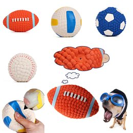Wholesale Football Pets - Dog Chew Toys Ball Latex Football Volleyball Tennis Ball Dog Squeaky Toy Pet Puppy Sound Squeaky Ball Supplies Free DHL WX9-197