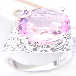 Wholesale gem rings - Bulk 3Pcs lot Valentine Day's Gift Unique Oval Shaped Pink Topaz Crystal Gems Russia 925 Sterling Silver Plated USA Weddiing Party Ring