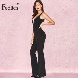 Wholesale Womens Orange Jumpsuit - Feditch 2018 New fashion womens Jumpsuits Red Sexy Deep V-neck Jumpsuits Summer Ladies pencil Rompers women Overalls vadim