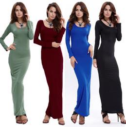 Vestidos de escritório mulheres on-line-Sólida sexy escritório de trabalho túnica Vestidos 2018 Evening Party Gown Vestido Maxi Mulheres manga Comprida Bodycon Vestidos Vestidos Lápis Magros