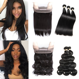 Wholesale Indian Hair Wefts - Brazilian Virgn Human Hair Bundles with Closure Pre Plucked 360 Lace Frontal with Baby Hair Straight & Body Wave Brazilian Virgin Hair Wefts