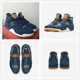 Wholesale Blue 4s - 2018 With Box Retro 4 Denim x Blue Jeans Jiont Limited Men's Basketball Shoes for AAA+ quality Airs 4s Flight Top Sports Sneakers Size 7-13