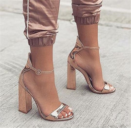ba0db798c428 New Design Women Fashion Peep Toe Rose Gold Chunky Heel Sandals Ankle Strap  Patent Leather Thick Heel Sandals Dress Shoes