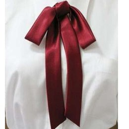 Wholesale uniform ribbons - Kesebi 2018 Spring Summer Female Casual Students School Bow Ties Women High Quality Silk Ribbon Uniform Lengthened Tie Bowties