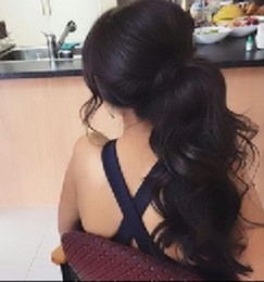 brazilian body wave hair ponytail Promo Codes - 140g hot women wavy Ponytail Human Hair Extension, Natural color Brazilian Virgin Hair body wave drawstring Human Hair Pony tails