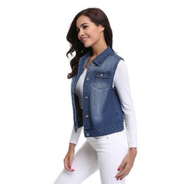 Wholesale Cheap Color Jeans - Womens Denim Vests 2017 Autumn Sleeveless Turn-down Collar Button Fashion Jeans Vest Tops China Cheap Clothes