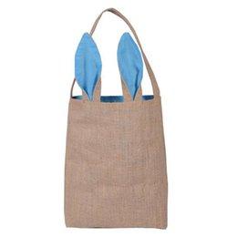Feriado bolsas on-line-New Multi-cor de serapilheira coelhinho da Páscoa Orelhas Cesta bonito de Easter Holiday Gift bolsas de lona orelhas de coelho Bolsas Páscoa Venda